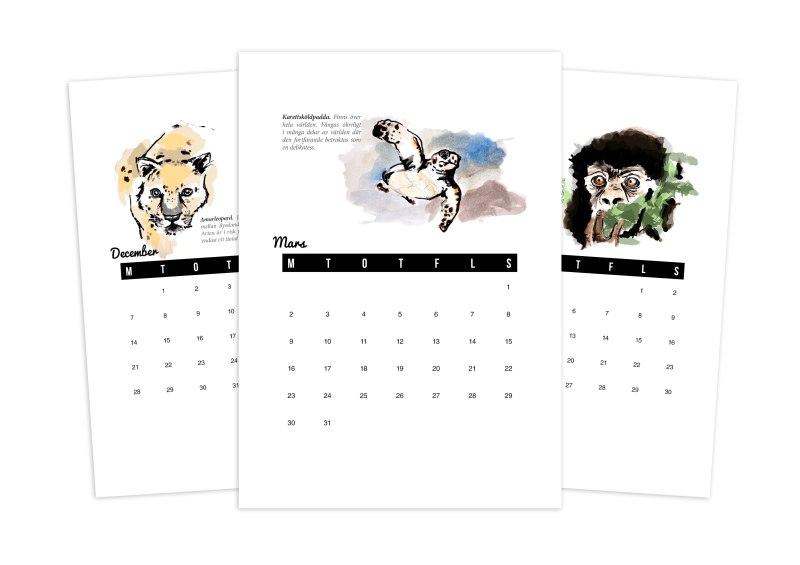 Min kalender har 12 djur som motiv. Alla är i färg, men blir fina med svartvit utskrift också. Du får gärna ladda ner den för privat bruk.